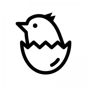 ヒヨコの白黒シルエットイラスト