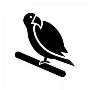 インコの白黒シルエットイラスト02