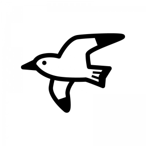 カモメの白黒シルエットイラスト02