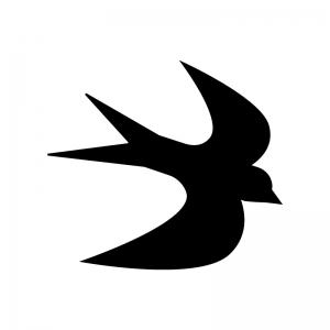 ツバメの白黒シルエットイラスト