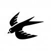 ツバメの白黒シルエットイラスト02