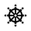 舵の白黒シルエットイラスト