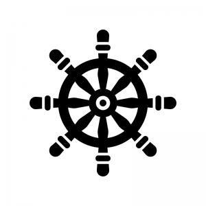 舵の白黒シルエットイラスト02