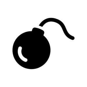 爆弾の白黒シルエットイラスト