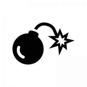 爆弾の白黒シルエットイラスト02