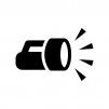 懐中電灯の白黒シルエットイラスト03