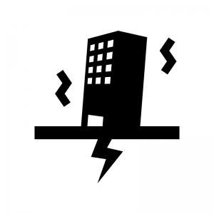地震とビルの白黒シルエットイラスト