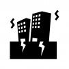 地震とビルの白黒シルエットイラスト02