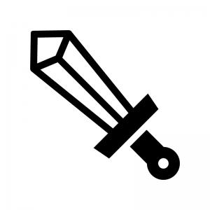 剣・ソードの白黒シルエットイラスト