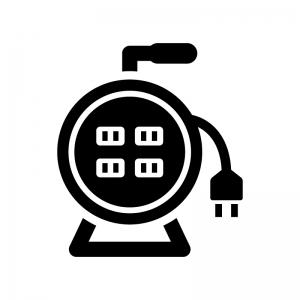 電工ドラムの白黒シルエットイラスト