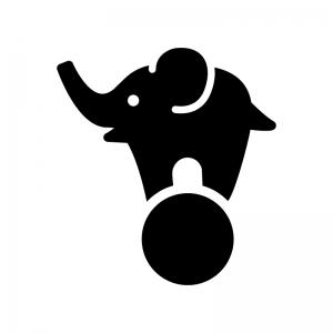 サーカスするゾウの白黒シルエットイラスト