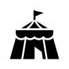 サーカスのテントの白黒シルエットイラスト