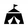 サーカスのテントの白黒シルエットイラスト02