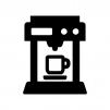 コーヒーマシーンの白黒シルエットイラスト