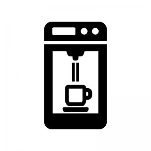 コーヒーマシーンの白黒シルエットイラスト02