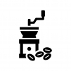 コーヒーミル(手挽きコーヒー)の白黒シルエットイラスト02