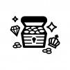 宝石や金貨が入った宝箱の白黒シルエットイラスト