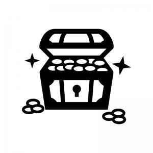 コイン・金貨が入った宝箱の白黒シルエットイラスト02