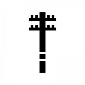 電柱の白黒シルエットイラスト