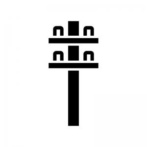 電柱の白黒シルエットイラスト02
