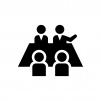 グループディスカッションの白黒シルエットイラスト02