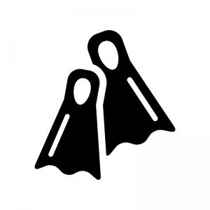 フィン・スキューバダイビングの白黒シルエットイラスト