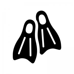 フィン・スキューバダイビングの白黒シルエットイラスト02