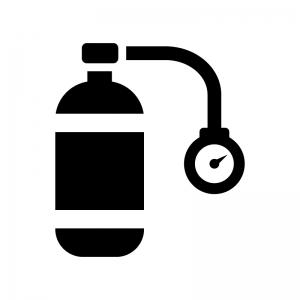 酸素ボンベの白黒シルエットイラスト02