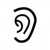 耳の白黒シルエットイラスト02