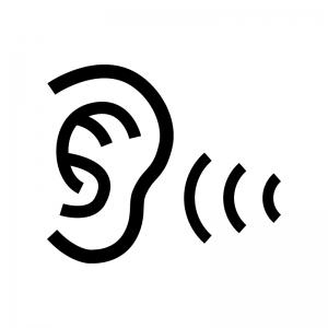 耳の検査の白黒シルエットイラスト