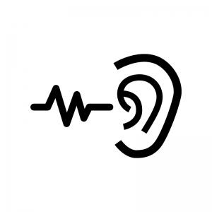 耳の検査の白黒シルエットイラスト02