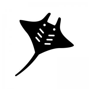マンタ・エイの白黒シルエットイラスト