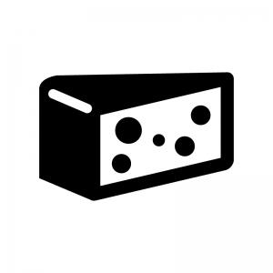 チーズの白黒シルエットイラスト04