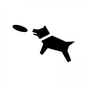 フリスビーと犬の白黒シルエットイラスト