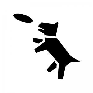 フリスビーと犬の白黒シルエットイラスト02