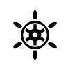舵の白黒シルエットイラスト03