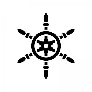 舵の白黒シルエットイラスト04
