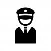 ガードマン・警備員の白黒シルエットイラスト