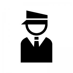 ガードマン・警備員の白黒シルエットイラスト02