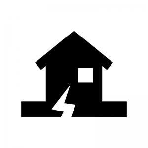 地震と家の白黒シルエットイラスト
