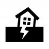 地震と家の白黒シルエットイラスト02