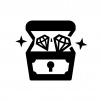 宝石類が入った宝箱の白黒シルエットイラスト02