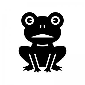 カエルの白黒シルエットイラスト03