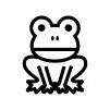 カエルの白黒シルエットイラスト04
