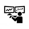 FXや株のトレーダーの白黒シルエットイラスト