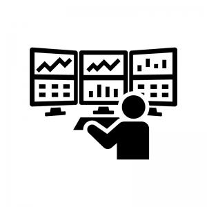FXや株のトレーダーの白黒シルエットイラスト02