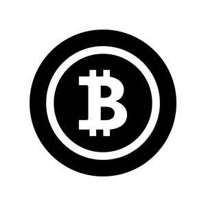ビットコインの白黒シルエットイラスト