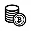 ビットコインの白黒シルエットイラスト04