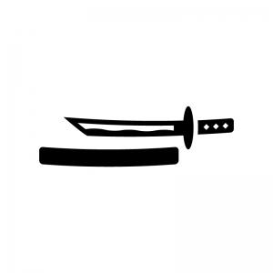 日本刀の白黒シルエットイラスト