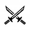 日本刀の白黒シルエットイラスト02